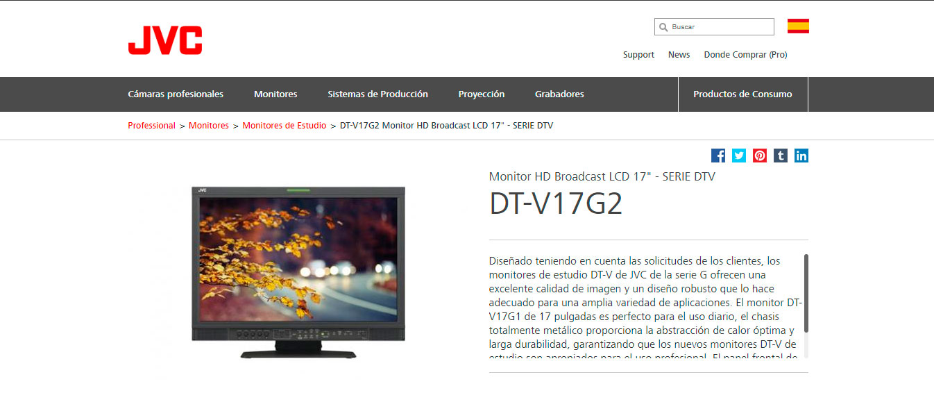 "Monitor JVC HD Broadcast LCD 17"" - SERIE DTV"