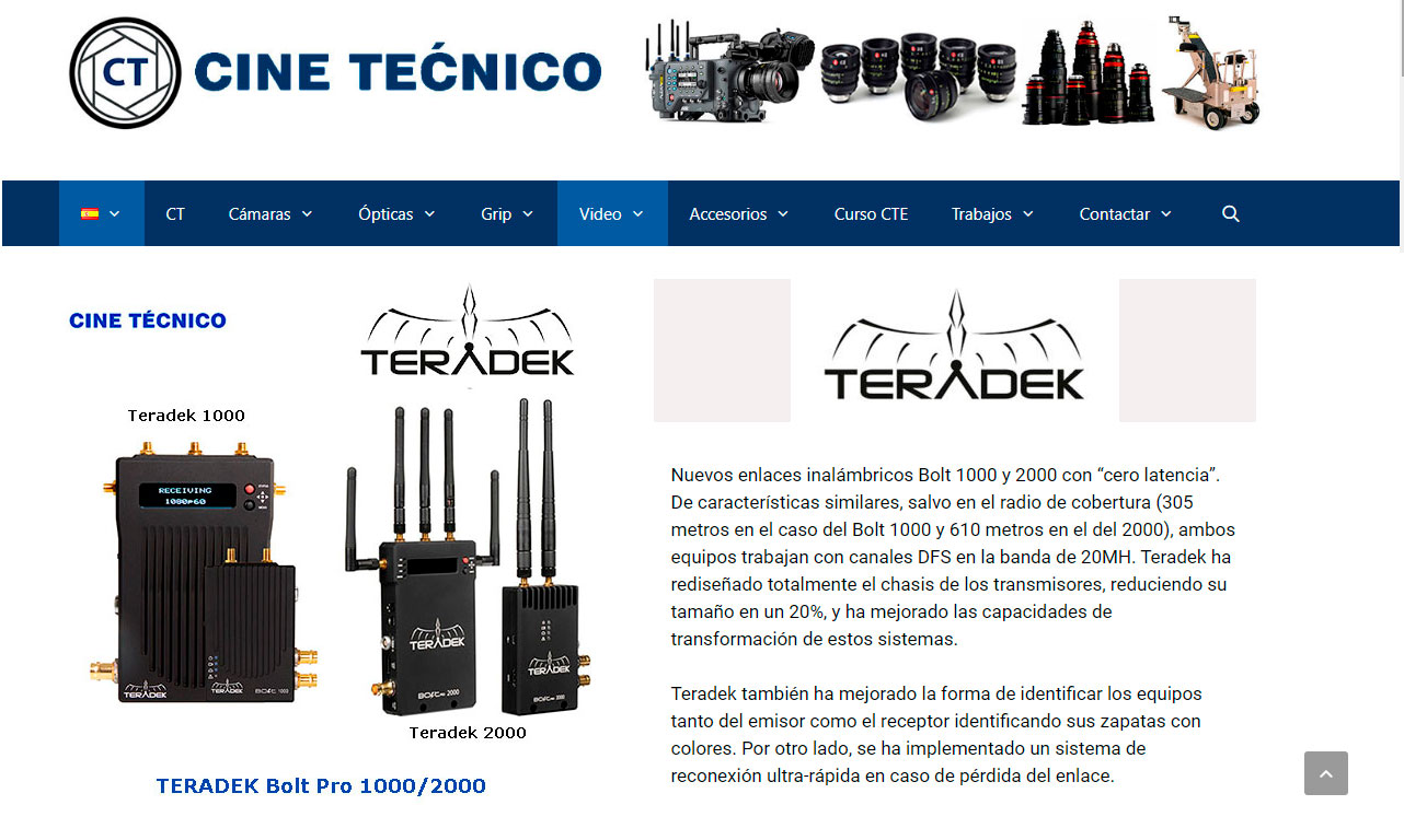 HD TX Video Wireless TERADEK Bolt 1000/2000
