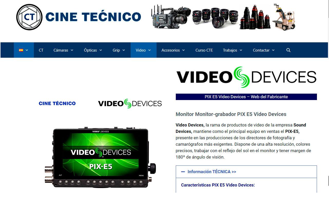 Web Cine Técnico Video Devices PIX-E5