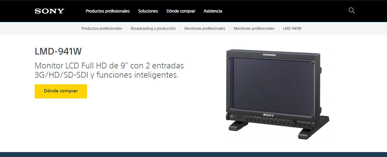 """Web MONITOR Sony HD 9"""""""