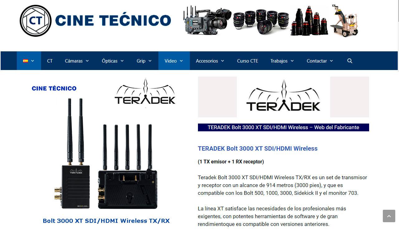 WEb TERADEK Bolt 3000 XT SDI/HDMI Wireless