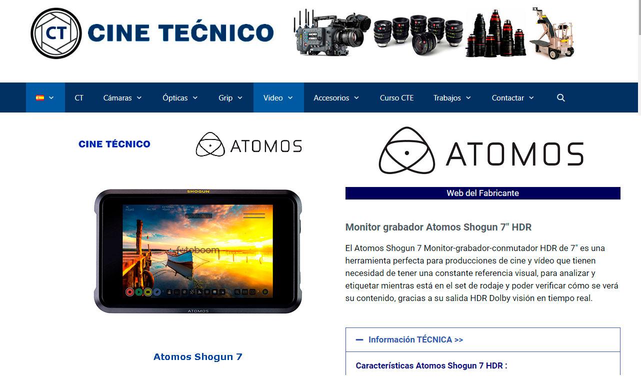 """WEB Cine Técnico Alquiler Atomos Shogun 7"""" / Movie-Men"""