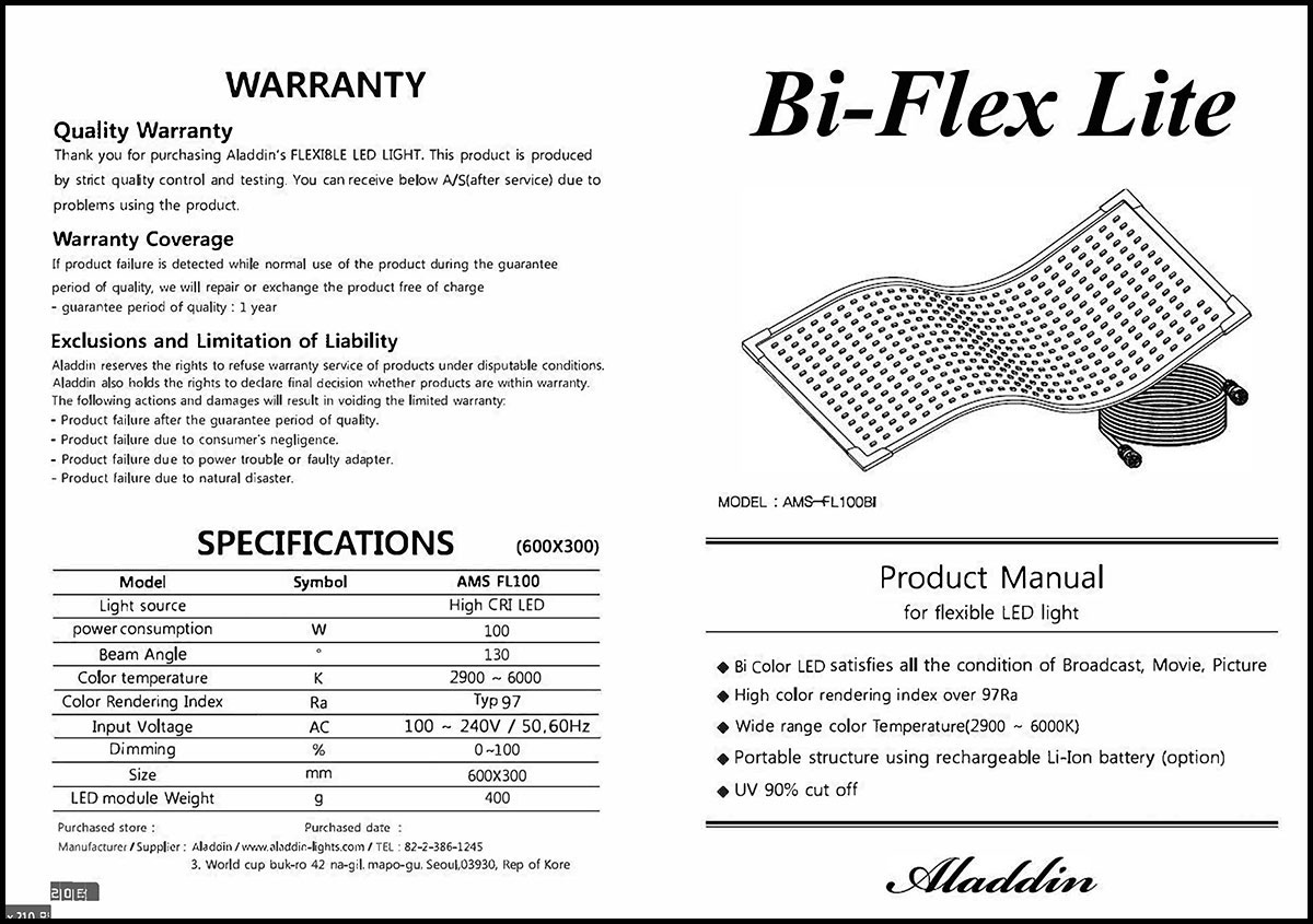 Aladdin BI-FLEX 1 - Manual