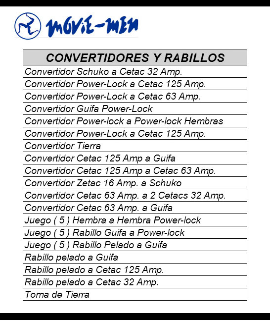 Alquiler Convertidres y Rabillos / Movie-Men