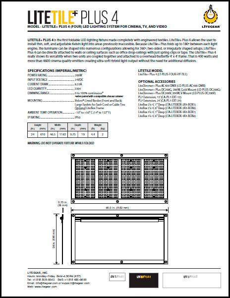 LiteTile 2x4 PLUS Data Sheet