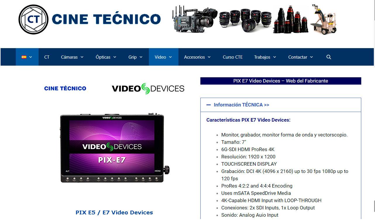 Web Cine Técnico / Video Devices PIX-E7