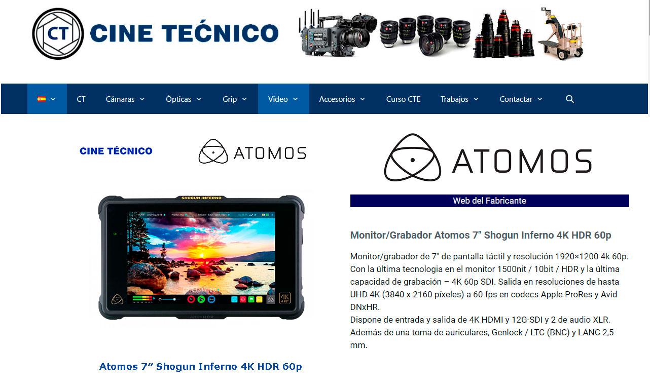 Web CT Atomos 7″ Shogun Inferno 4K HDR