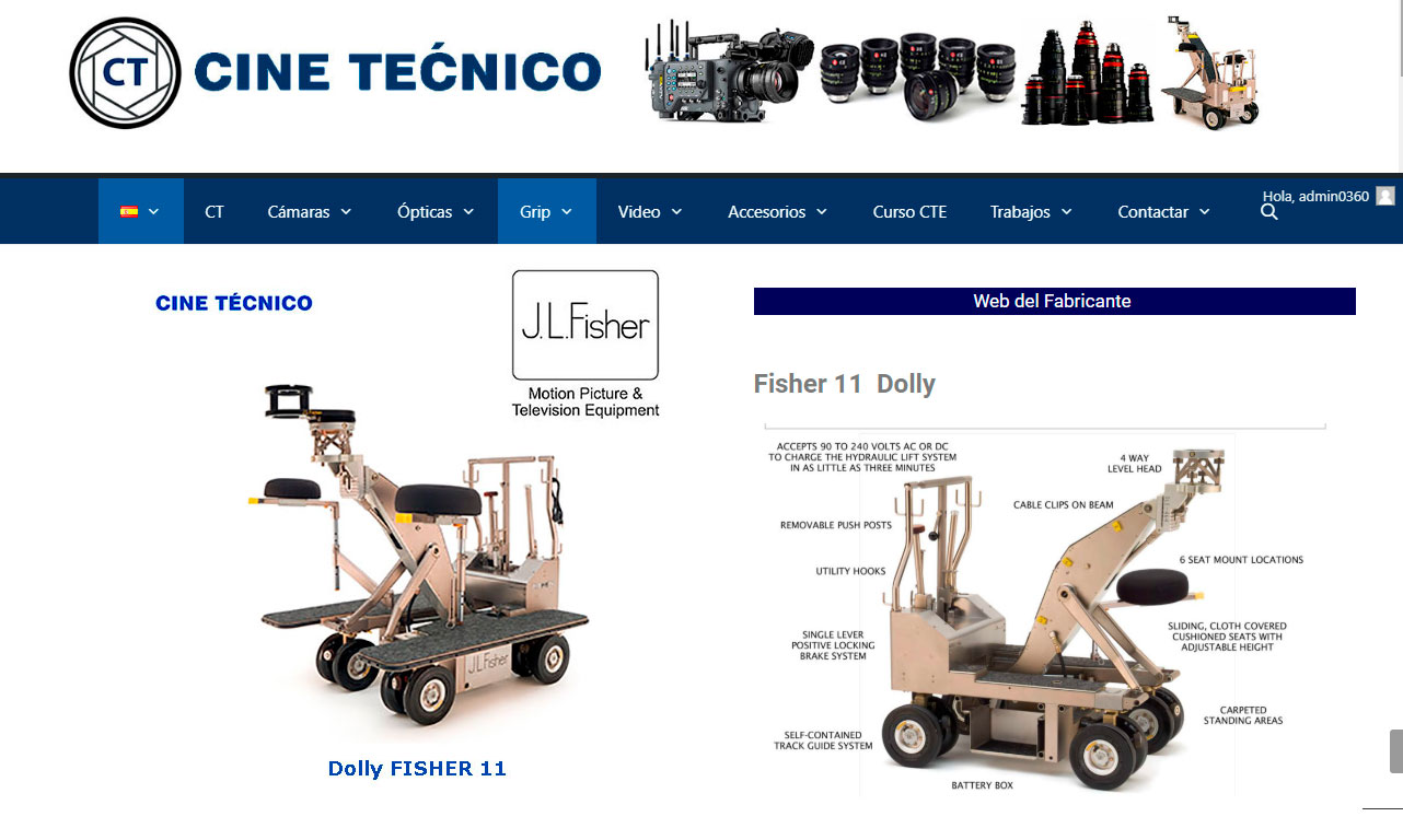 Web Dolly FISHER 11 - Cine Técnico